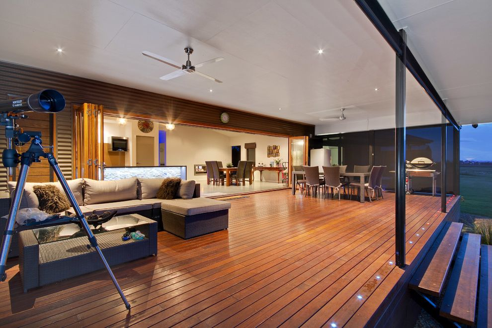 How Much to Build a Deck with Contemporary Deck Also Alfresco Deck Feature Lighting Indoor Outdoor Living Modern Queenslander Outdoor Entertaining Timber Bi Fold Doors Tropical Living