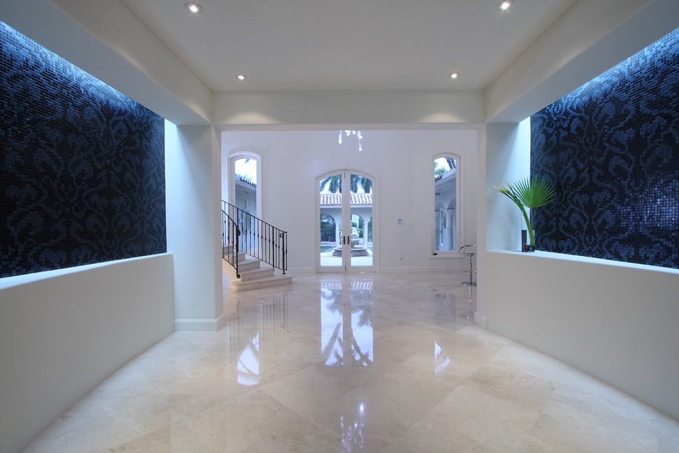 How to Clean Marble Floors   Contemporary Entry  and Black and White Ceiling Lighting Cove Lighting Foyer Glass Doors Marble Flooring Monochromatic Mosaic Tiles Recessed Lighting Tray Ceiling Wall Tile Design Wall Tiles