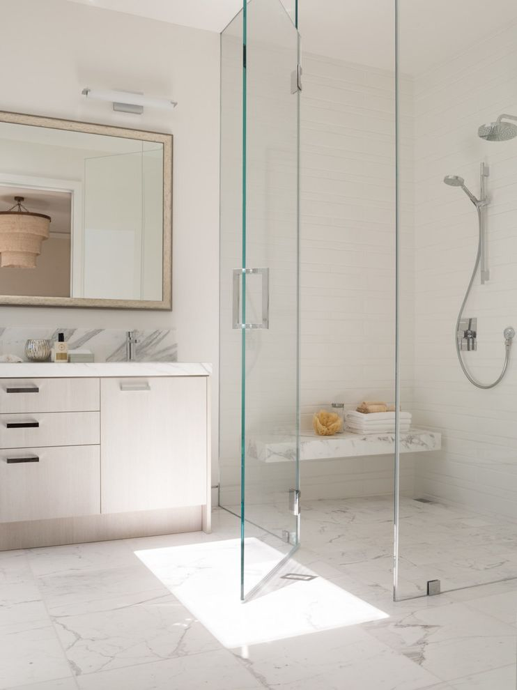 How to Clean Marble Floors with Contemporary Bathroom Also Bathroom Mirror Frameless Glass Shower Enclosure Glass Shower Door Hand Shower Marble Shower Bench Shower Seat