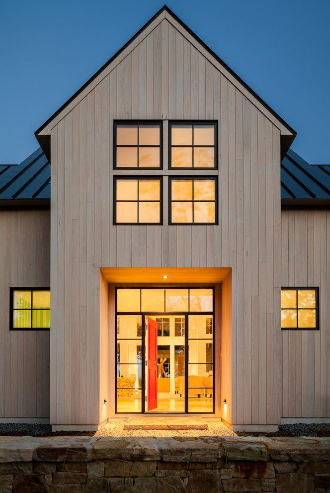 How to Get Oil Stains Out with Farmhouse Entry  and Black Window Trim Contemporary Farmhouse Modern Farmhouse New Construction Standing Seam Roof Windows