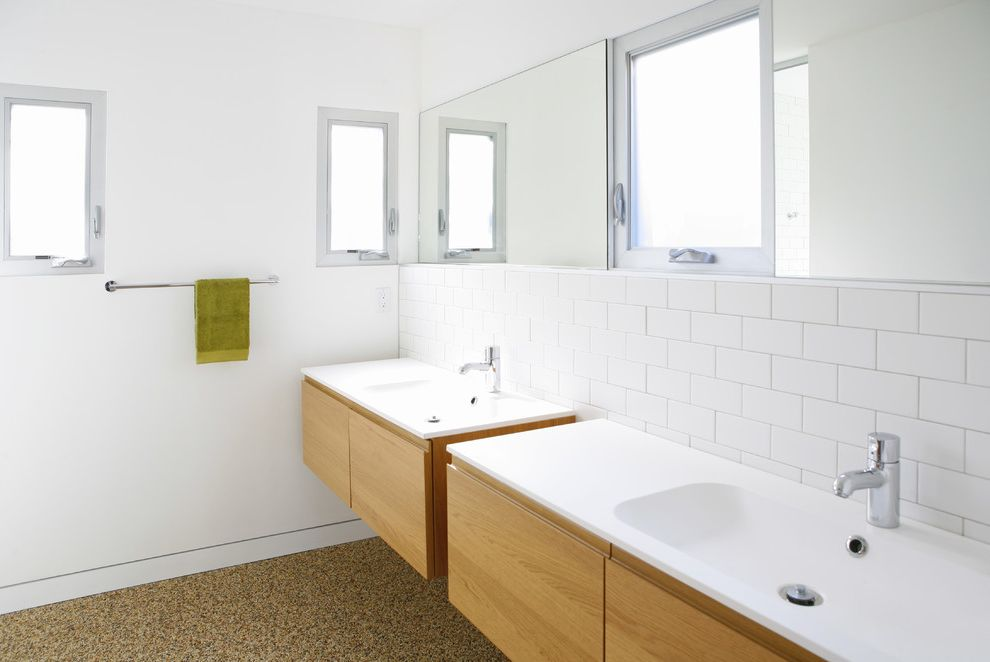 Ikea Twin Cities   Modern Bathroom Also Floating Vanity Frosted Glass Window Light Wood Vanity Towel Rack Trough Sink White Bathroom White Countertop White Subway Tile White Tile Backsplash White Wall