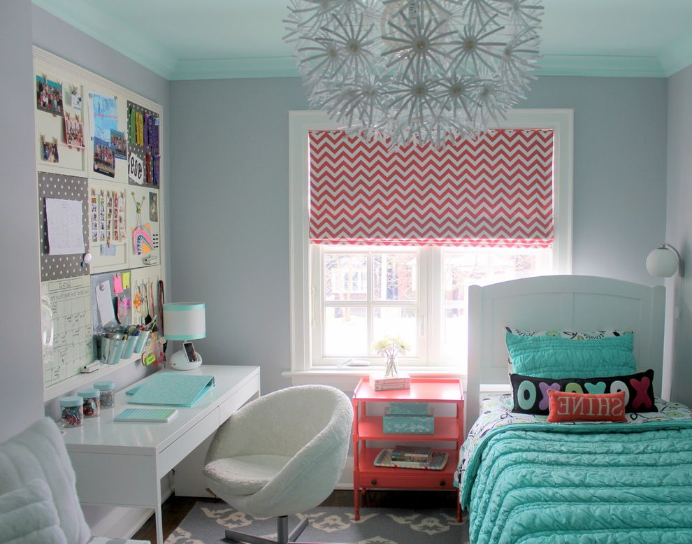 Ikea Twin Cities   Transitional Kids  and Area Rug Chevron Girls Room Grey and Coral Kids Bedroom Light Aqua Light Gray Maskros Nightstand Red Tween Bedroom Twin Bed