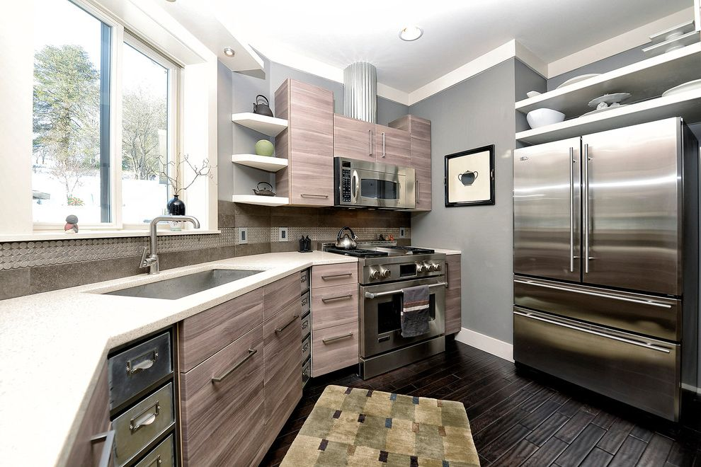 Ikea Twin Cities with Contemporary Kitchen Also Brown Gray Cabinets Brown Gray Drawers Corner Shelves Dark Brown Floor Gray Wall Metal Metal Drawers Open Shelves Open Shelving Stainless Steel Sink Stone Backsplash Window Ledge