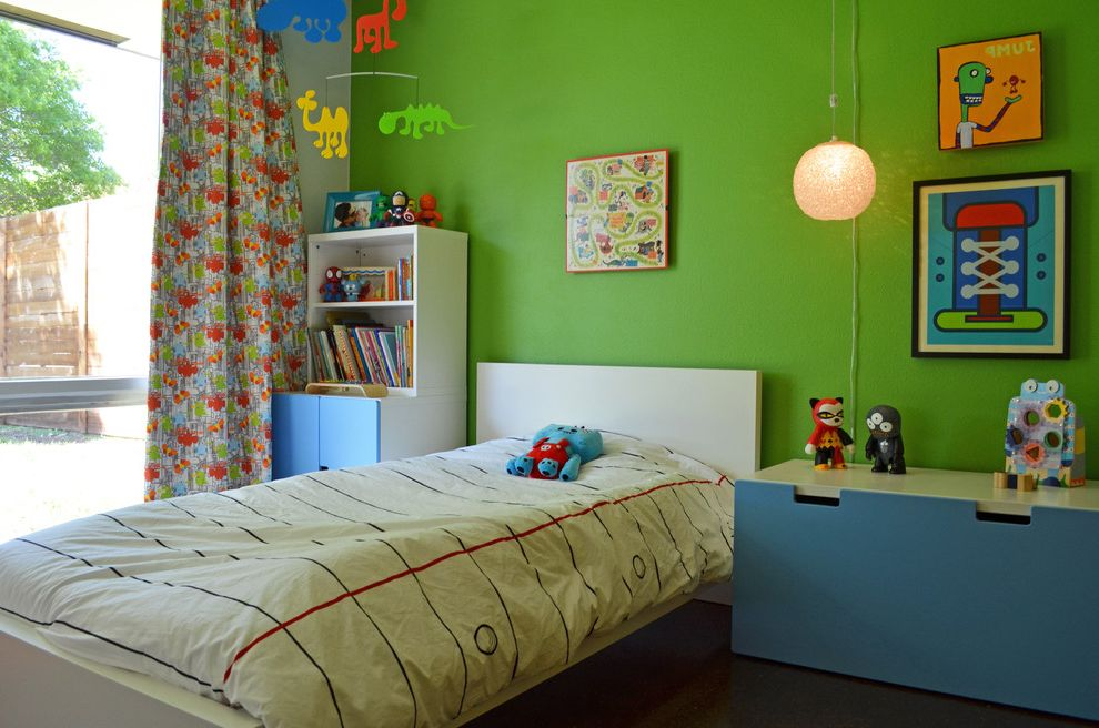Ikea Twin Cities with Midcentury Kids  and Bookshelves Boys Room Colorful Curtain Panel Dressers Duvet Green Accent Wall Large Windows Mobile Pendant Light Playful Twin Bed Wall Art Window Treatment