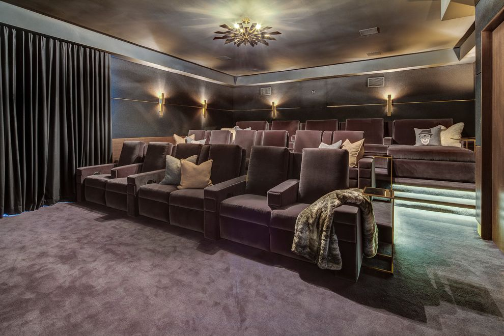 La Quinta Theater   Traditional Home Theater Also Armchairs Chandelier Curtains Step Lighting Steps Theater Seating Wall Sconces