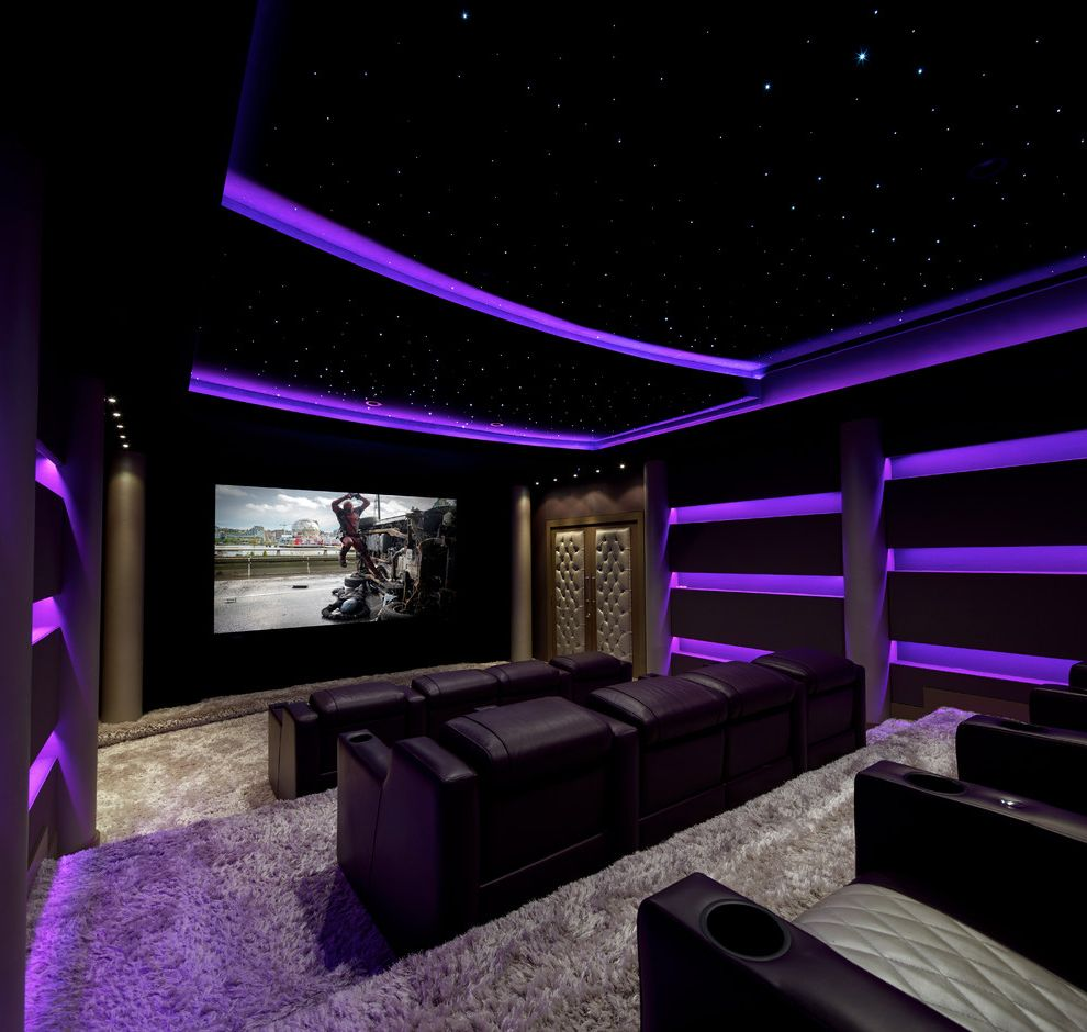 La Quinta Theater with Contemporary Home Theater Also Black Theater Chairs Cove Lighting Dark Home Theater Illuminated Ceiling Pruple Lights Shag Carpet Shaggy Carpet Star Ceiling