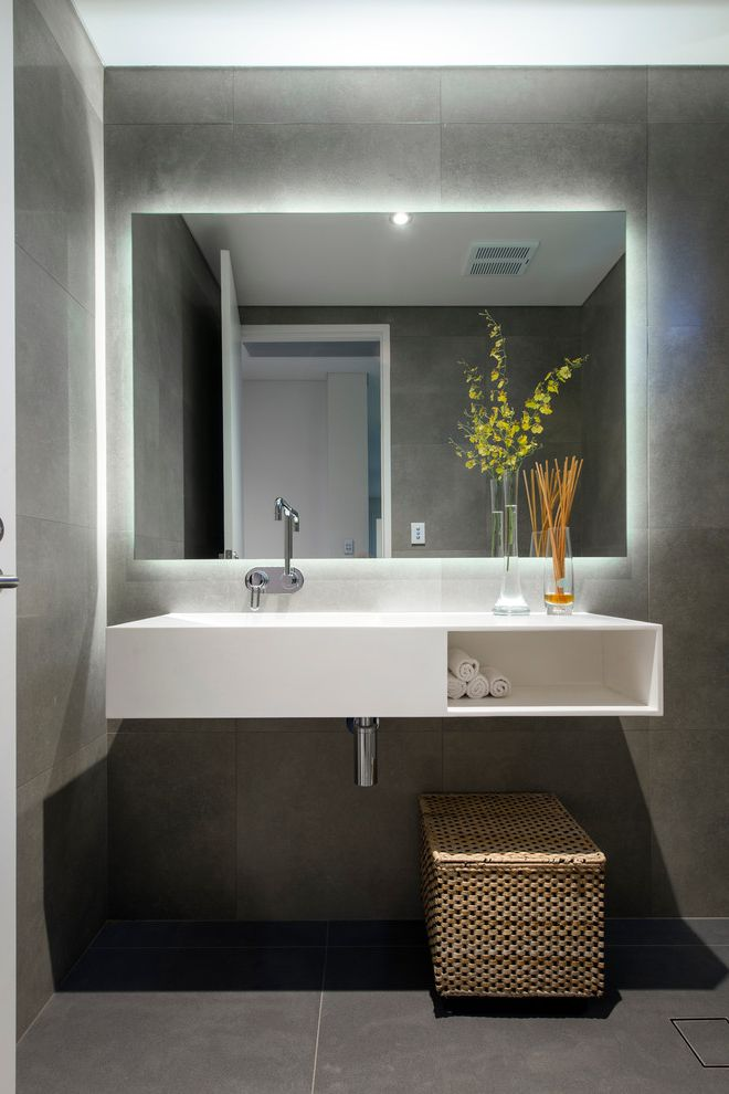Lacava Sinks   Contemporary Bathroom Also Concealed Lighting Contemporary Bathroom Cove Lighting Gray Floor Tile Moder Accessories Modern Bathroom Modern Bathroom Design Modern Vase Mosaic Tile Storage Basket