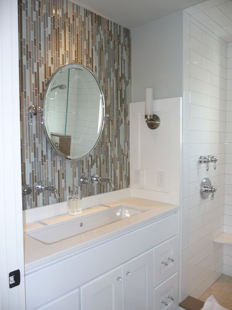 Lacava Sinks with Contemporary Bathroom Also Circular Mirror Faucet Glass Tile Glass Tile Mosaic Grohe Quartz Restoration Hardware Trough Sink Two Faucet Trough Sink Vanity Wall Mirror Wall Mounted Wall Sconces White White Subway White Vanity