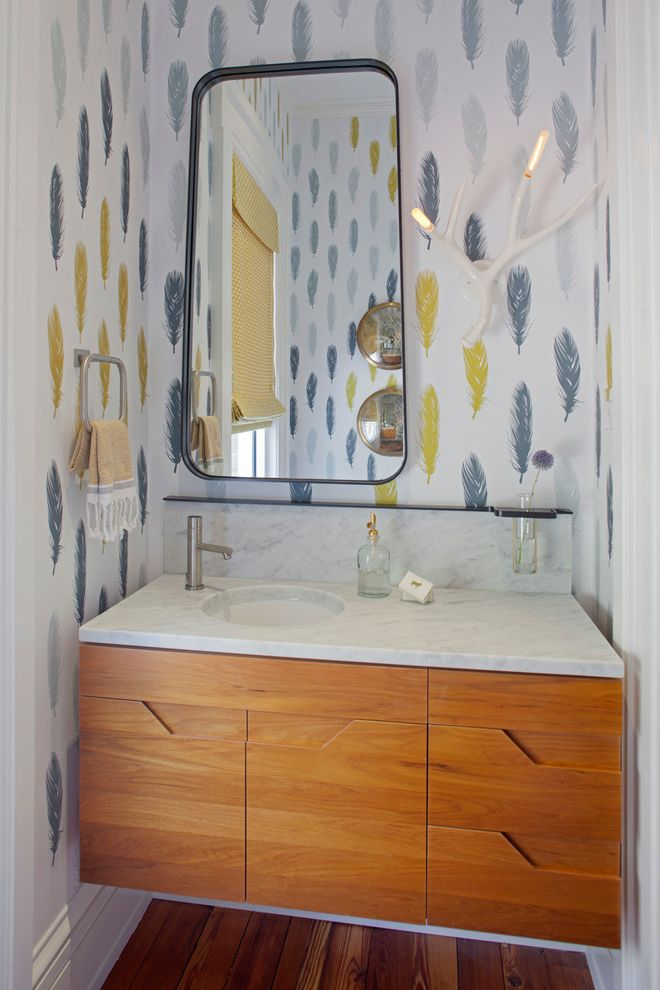 Lacava Sinks with Contemporary Bathroom Also Contemporary Custom Bath Vanity Custom Furniture Custom Mirror Custom Wallpaper Eclectic Style Feather Wallpaper Powder Room Savannah Tapered Mirror Teak Vanity Townhome Traditional Home White Antler Sconce