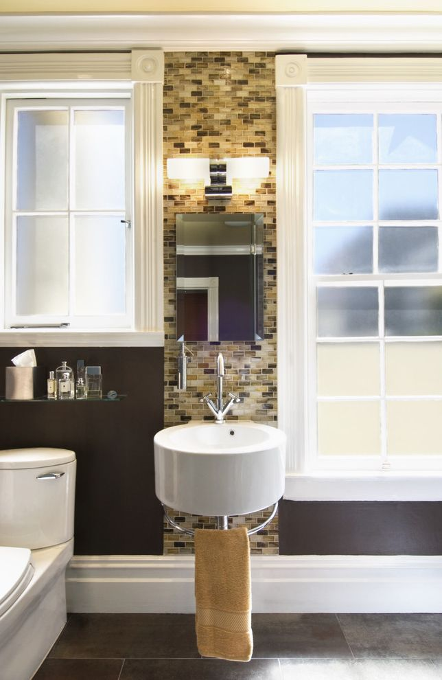 Lacava Sinks with Contemporary Bathroom  and Accent Tile Brown Floating Sink Frosted Glass Glass Shelf Lacava Open Space Sink Light Yellow Modern Fixtures Small Sink Small Space Toto Pacifica Toilet Wall Hung Sink Window Trim