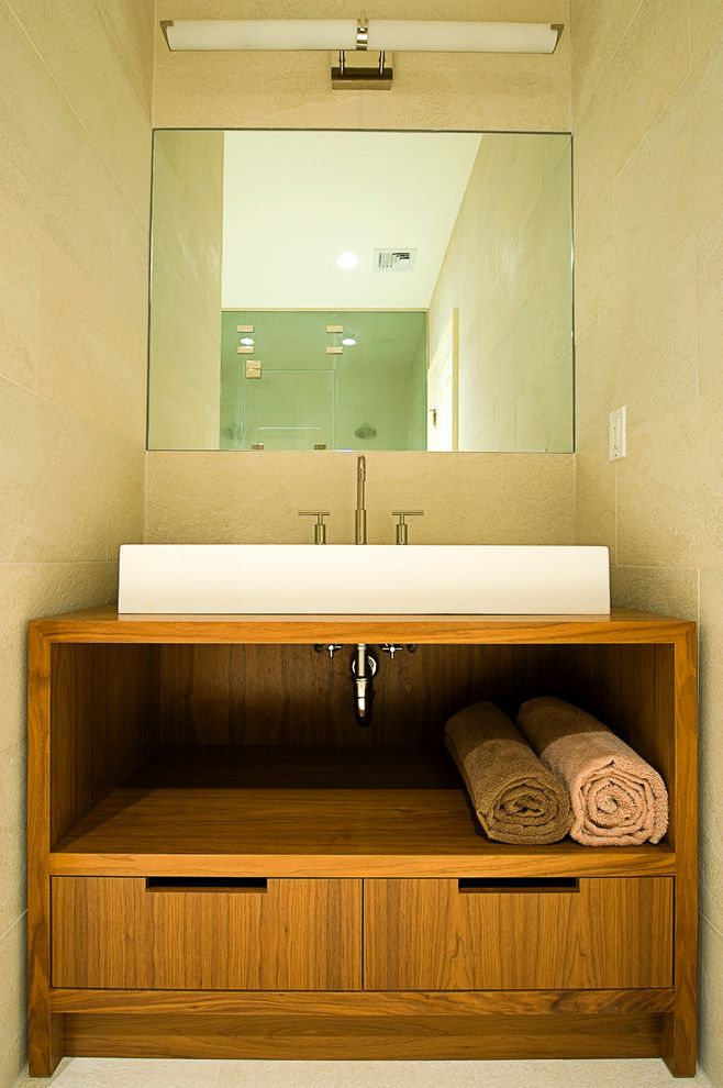 Lacava Sinks with Modern Bathroom Also Above Counter Sink Bathroom Mirror Bathroom Vanity Beige Tile Walls Drawers Lacavo Sink Mirror Lighting Sink Console Towel Storage Walnut Vanity Washstand