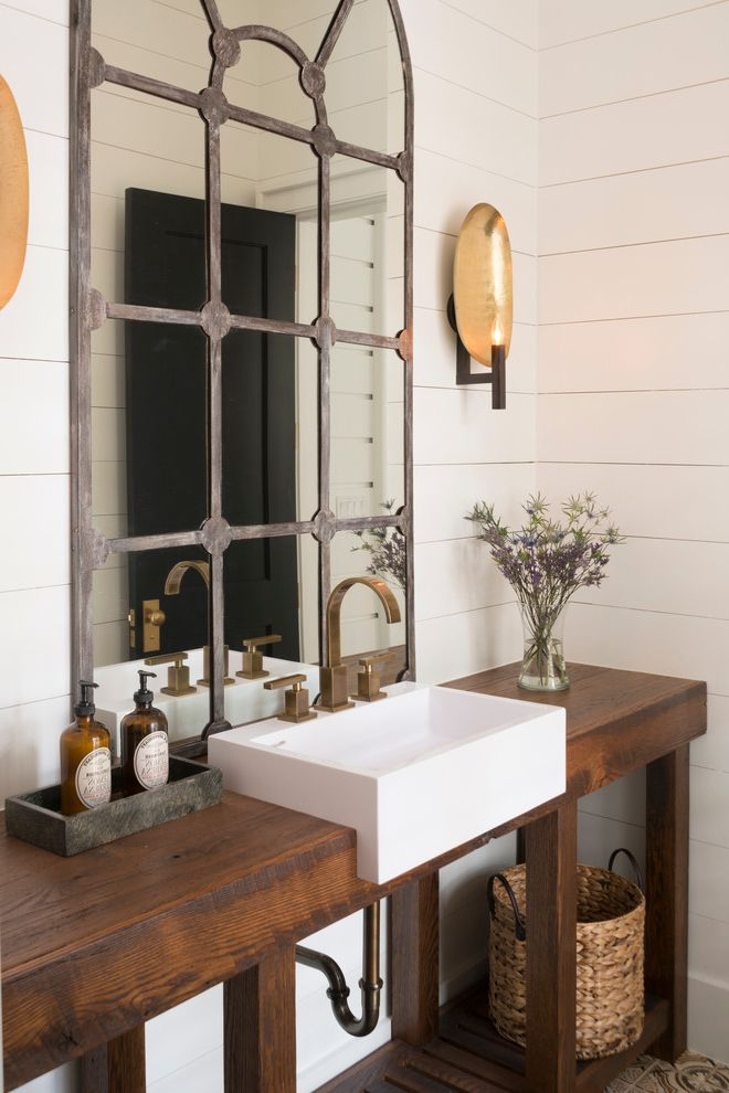 Lacava Sinks with Transitional Powder Room Also Basket Bronze Faucet Flowers Mirror Paneled Walls Rustic Vanity Sconce Soap Lotion Dispensers Vase