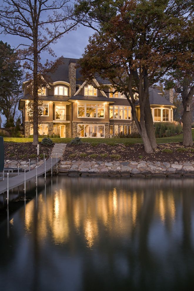 Lake Hartwell Lake Level   Traditional Exterior  and Dock Dormer Windows Grass Hillside Lawn Outdoor Lighting Retaining Wall Slope Stone Wall Turf Waterfront White Wood Wood Siding Wood Trim