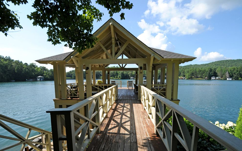 Lake Hartwell Lake Level with Rustic Porch Also Deck Floor Deck Furniture Dock Lake House Lake View Natural Landscape Posts Railing Trusses X Pattern