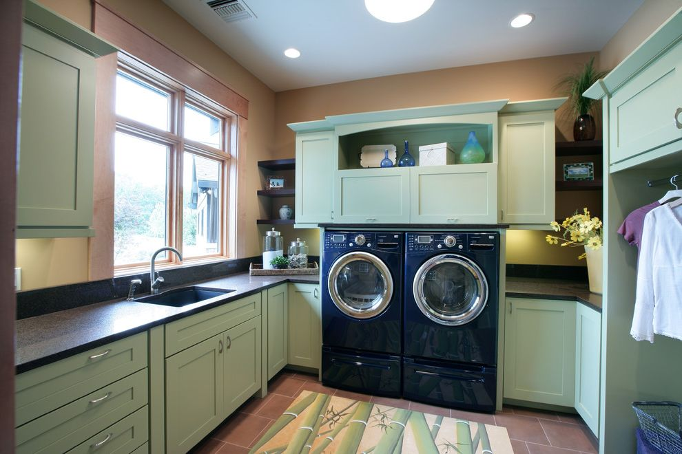 Lg Washer and Dryer Reviews   Contemporary Laundry Room  and Bamboo Rug Ceiling Lighting Floating Shelves Floor Tile Front Load Washer and Dryer Green Cabinets Recessed Lighting Shaker Style Under Cabinet Lighting