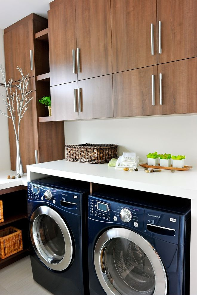 Lg Washer and Dryer Reviews with Contemporary Laundry Room Also Basket Storage Chrome Flush Cabinets Navy Blue Stainless Steel Tile Floor Upper Cabinets Washer Dryer White Counters Wood Cabinets