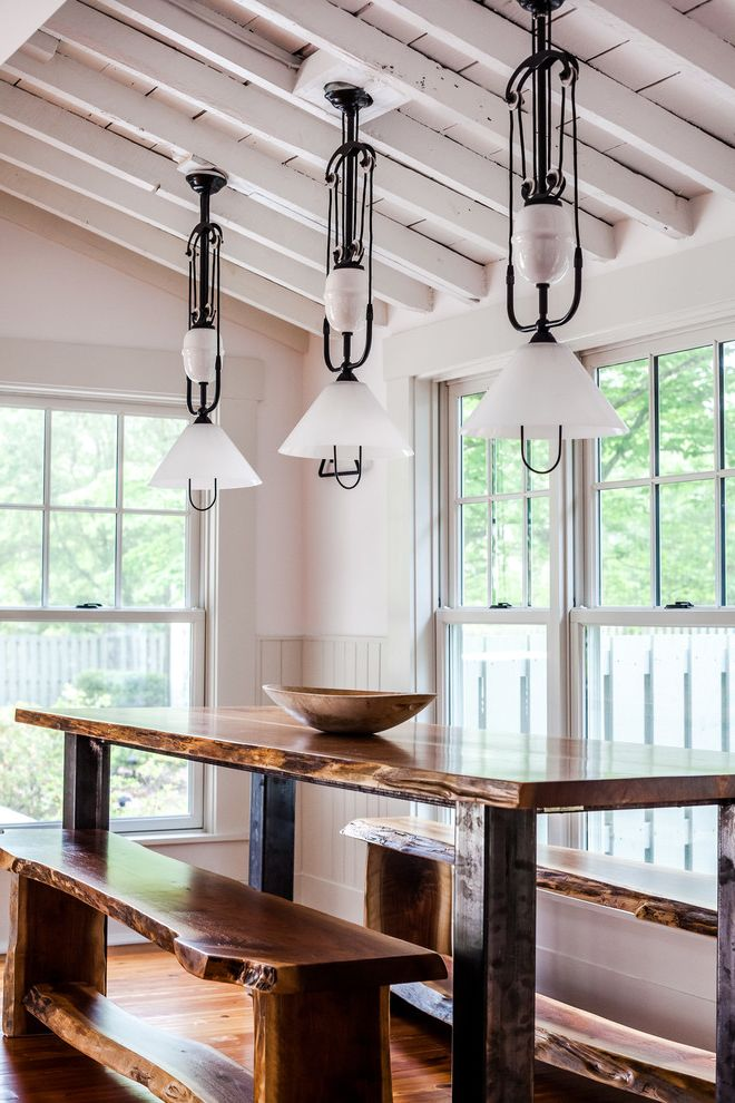 Living in Asheville Nc   Farmhouse Dining Room Also Beamed Ceiling Cottage Historic House Live Edge Table Pendant Light Railroad Recycled Reuse Small House