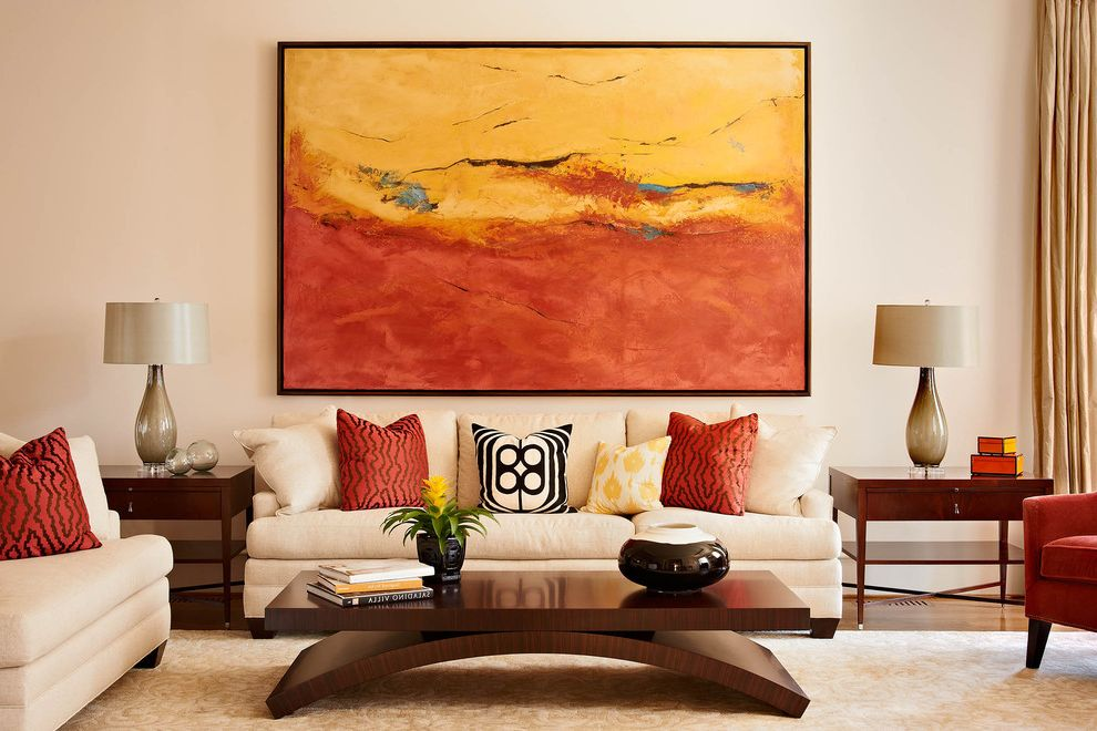 Living in Asheville Nc with Contemporary Living Room  and Baseboards Cream Couch Decorative Pillows Earth Tone Colors End Table Modern Art Oversized Art Side Table Throw Pillows Wall Art Wood Coffee Table Wood Flooring