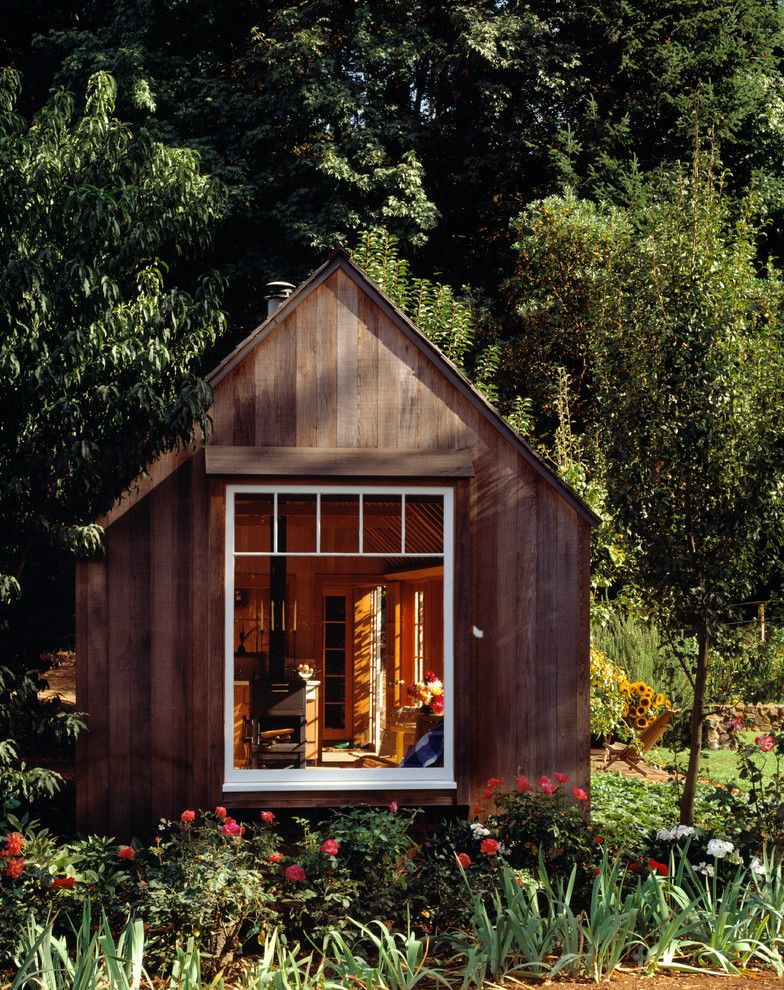 Living Spaces Mission Valley with Rustic Shed  and Cottage Dark Wood Stain Forest Guest House Landscaping Rose Bushes Shed Simple Living Small Living Spaces Small Spaces Tiny Home Tiny House Wood Stove