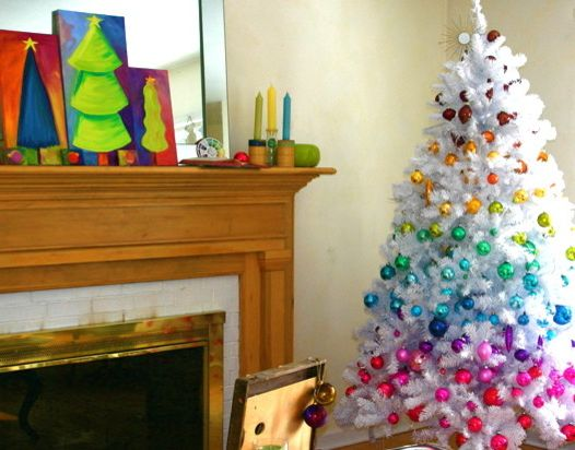 Lowes Artificial Christmas Trees with Eclectic Family Room Also Christmas Colorful Home Opendoor Studio Opendoorstudio Opendoorstudio Blogspot Com Opendoorstudio Etsy Com Ornaments Rainbow Tree Vintage White