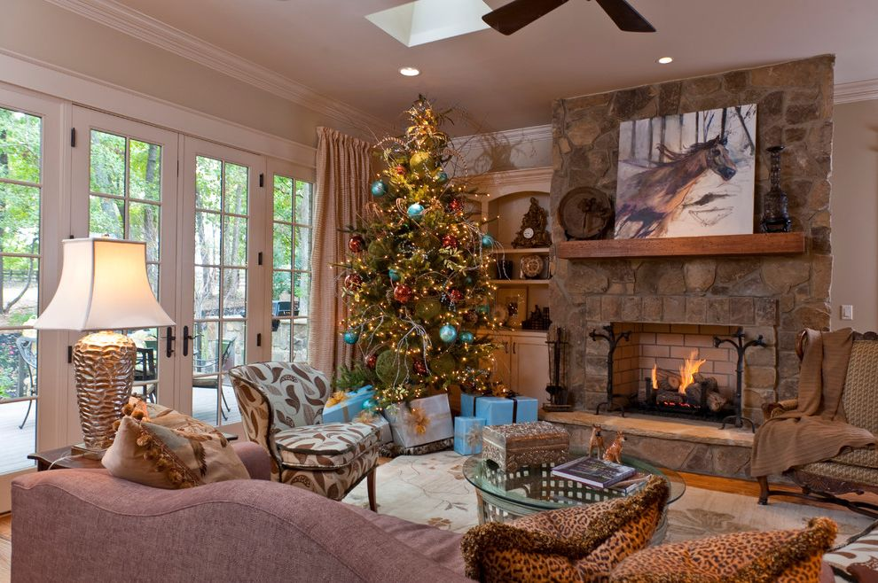 Lowes Artificial Christmas Trees with Traditional Living Room  and Area Rug Built in Bookcase Ceiling Fan Christmas Tree French Doors Fringe Hearth Leopard Sky Light Sofa Stone Fireplace Table Lamp Wing Chair