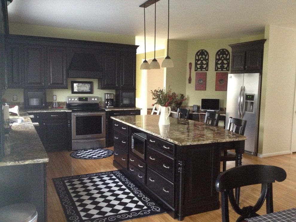 Lowes Barboursville Wv   Traditional Kitchen  and Black Cabinetry Built in Refrigerator Desk Island Legs