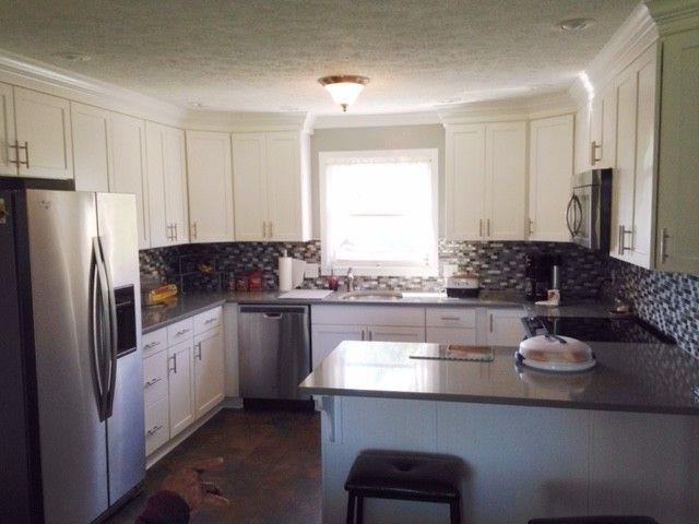 Lowes Barboursville Wv   Traditional Spaces  and Backsplash Mosaic Crown Molding Quratz Counter Rescess Can Lighting Shenandoah Cabinets Stainless Steel Appliances Vinyl Flooring