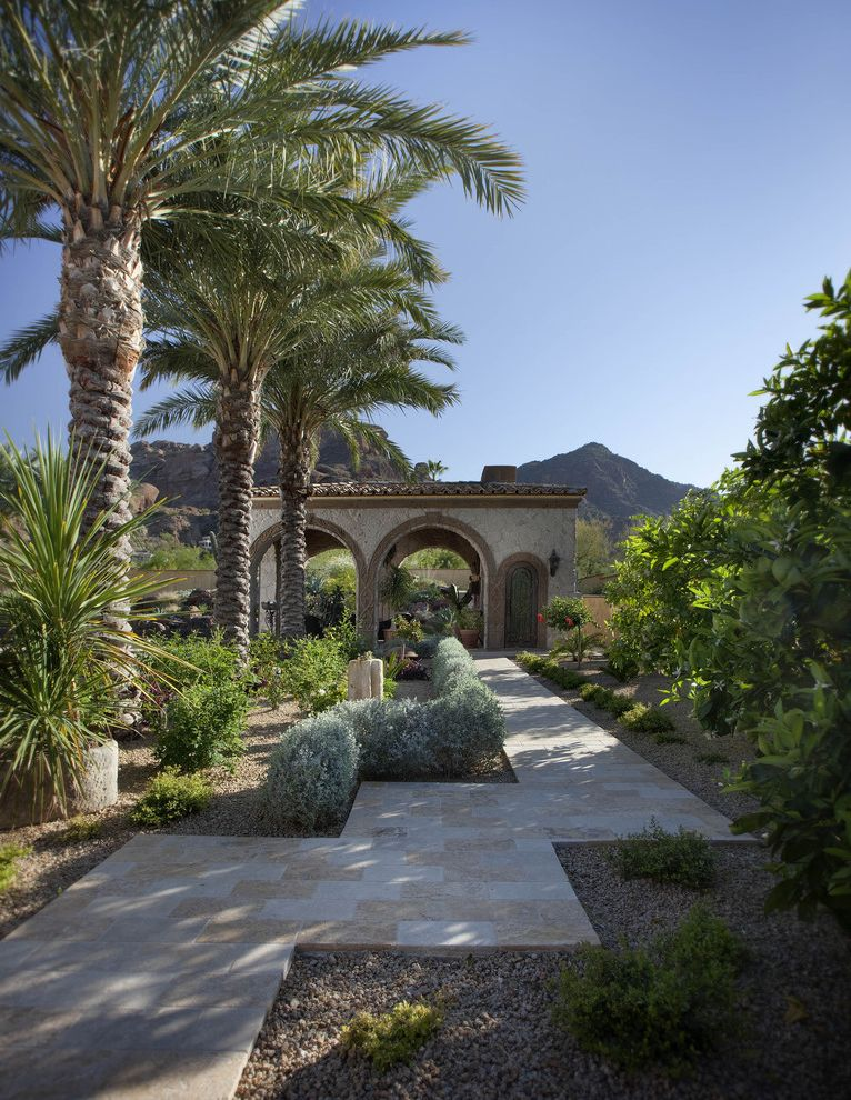 Lowes Hawaii   Mediterranean Landscape  and Arch Cabana Covered Patio Drought Tolerant Gravel Low Maintenance Low Water Palm Tree Path Paver Planter Tile Roof Walkway