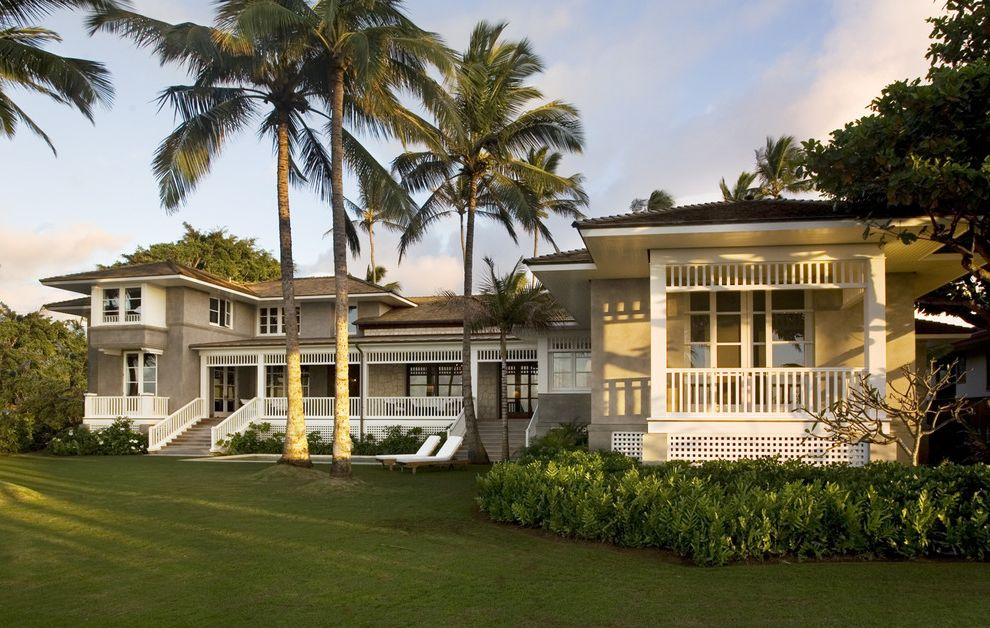 Lowes Hawaii   Tropical Exterior Also Balustrade Chaise Lounge French Doors Grass Handrail Hawaii Lattice Lawn Neutral Colors Overhang Palm Tree Plantation Porch Stair Staircase Step Stucco Turf Veranda White Wood Wood Railing Wood Trim