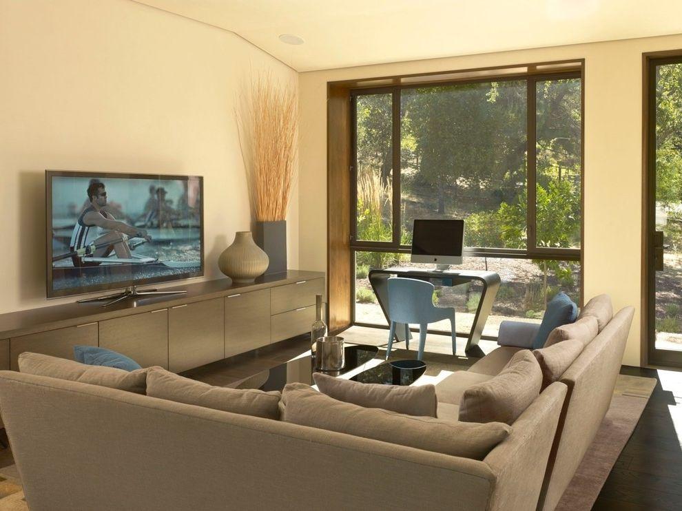 Lowes Hawaii with Contemporary Family Room  and Area Rug Beige Sofa Blue Desk Chair Custom Desk Dark Wood Flooring Glass Door Hardwood Flooring Neutral Colors Neutral Flooring Sectional Sofa Tv Tv Cabinet