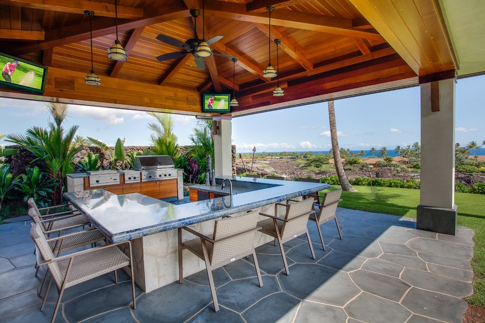 Lowes Hawaii with Tropical Patio Also Blue Granite Counter Ceiling Fan Counter Stools Flagstone Patio Lawn Ocean View Organic Edge Outdoor Kitchen Pavilion Pendant Lights Tv Vaulted Ceiling Wood Ceiling Wood Beams