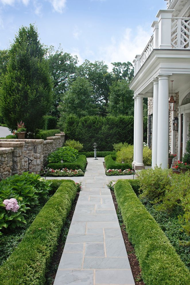 Lowes Madison Ms   Traditional Landscape Also Boxwoods Georgian Design Hydrangeas Paver Walkway Shrubs Stone Wall White Columns