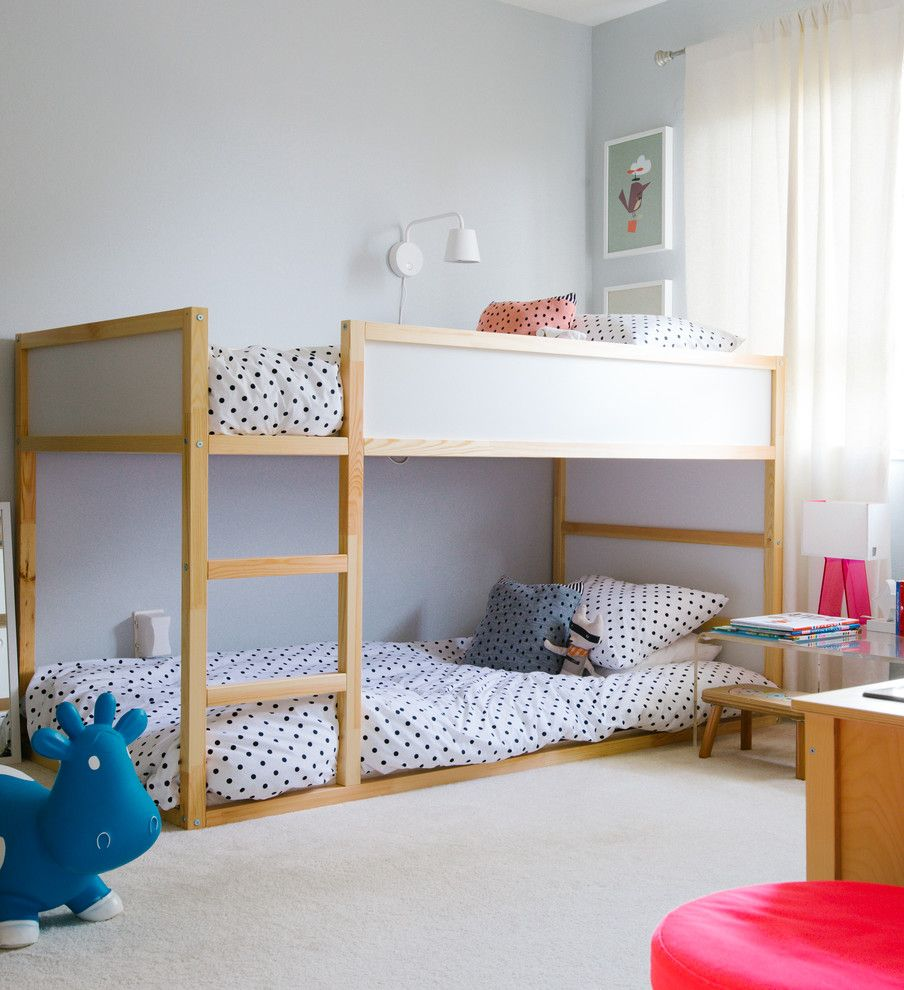 Lowes Sulphur La with Transitional Kids  and Beige Carpet Bouncy Toy Cow Bunk Bed Loft Bed My Houzz Polka Dot Bedding Toddler Bed Twin Girls Bedroom