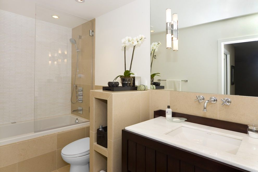 Lowes Vallejo   Contemporary Bathroom  and Beige Tiles Dark Wood Glass Shower Modern Fixtures Modern Vanity Orchid Sconces Sunken Sink White