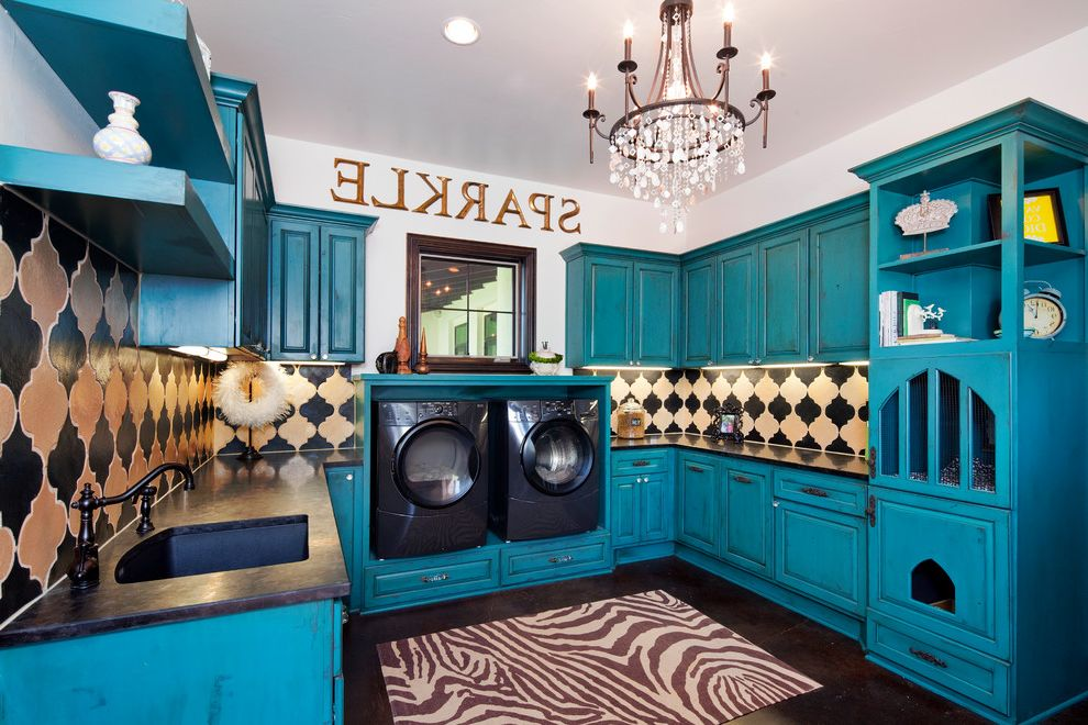 Male Cat Spraying   Traditional Laundry Room Also Black Counter Black Laundry Room Appliances Blue Green Cabinets Chandelier Moroccan Tile Backsplash Onyx Washer and Dryer Risers Word Art Zebra Rug
