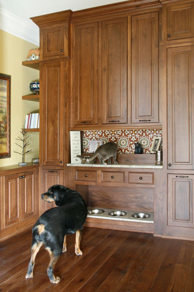 Male Cat Spraying with Traditional Hall Also Built in Cabinets Built in Dog Bowl Open Shelves Pet Bowls Feeding Pet Station Wallpaper Accent