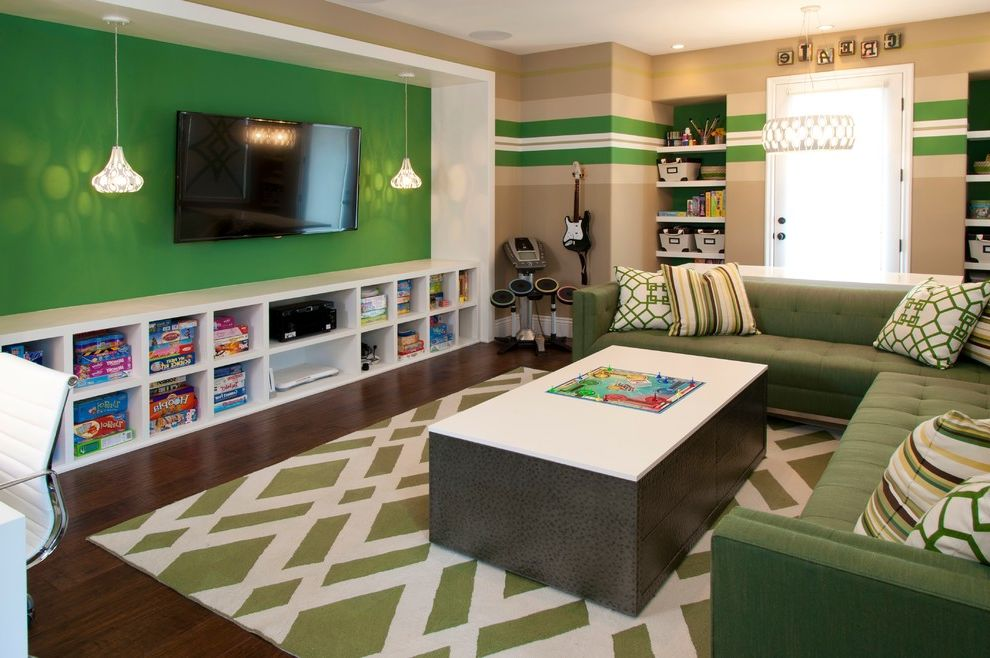 Mercury Facts for Kids with Contemporary Kids  and Bright Green Accent Wall Game Storage Green and White Rug Green Tufted Couch Striped Walls