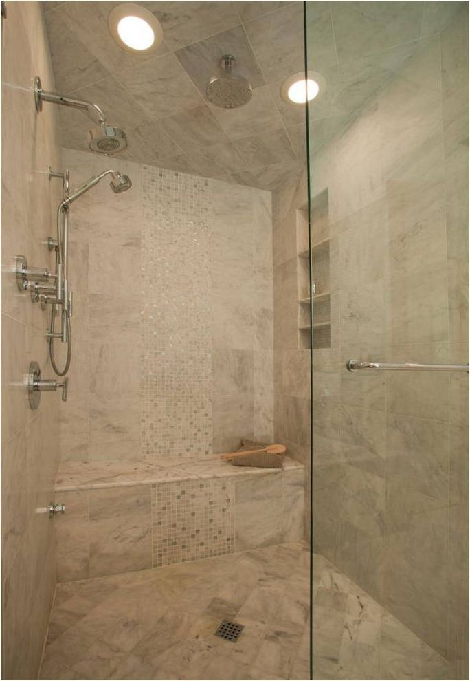 National Institute of Marriage   Transitional Bathroom Also Bench Seating Built in Shower Shelves Glass Shower Door Glass Tile Mosaic Tile Neutral Colors Rain Shower Head Shower Tile Square Drain Steam Shower Tile Stripe