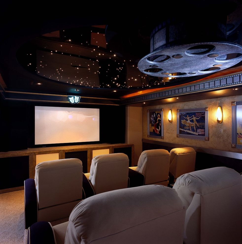 Old Mill Theater   Contemporary Home Theater  and Carpeting High Gloss Ceiling Home Theater Move Reel Movie Posters Pin Lights Starry Sky Theater Seating Wall Sconces