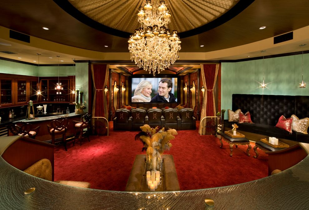 Old Mill Theater   Traditional Home Theater  and Banquette Bar Cameron Diaz Crystal Chandelier Fabric Ceiling Feathers Glass Heavy Velvet Drapes Home Theater Jude Law Movie Screen Red Rug Scrollwork Soffit Theater and Theater Lounge