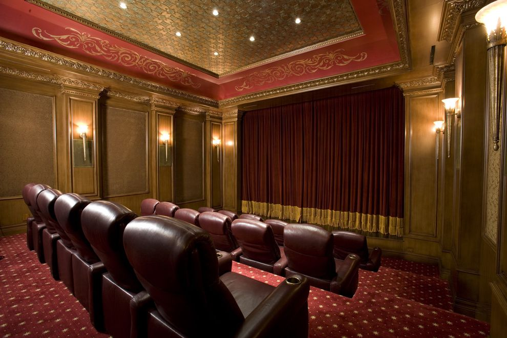 Old Mill Theater with Traditional Home Theater  and Accent Ceiling Carpet Chair Dramatic Drapes Red Carpet Red Leather Chair Theater Wood