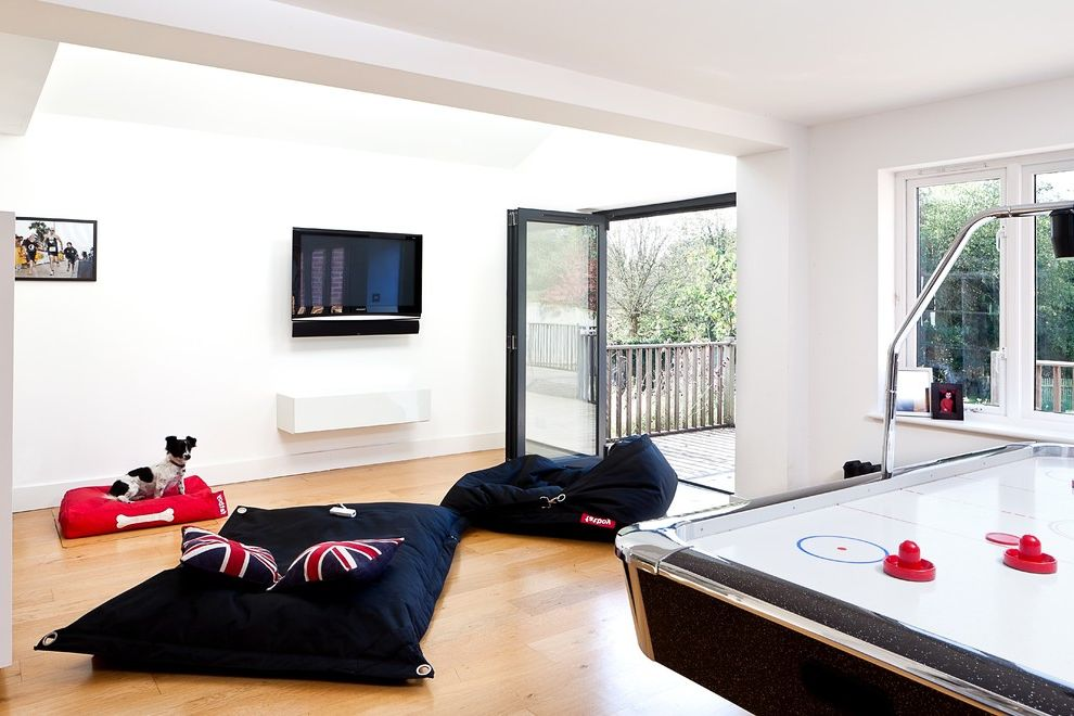 Oversized Bean Bag Chairs with Contemporary Family Room Also Air Hockey Table Bi Fold Doors Fat Boy Bean Bags Oak Floor Open Plan