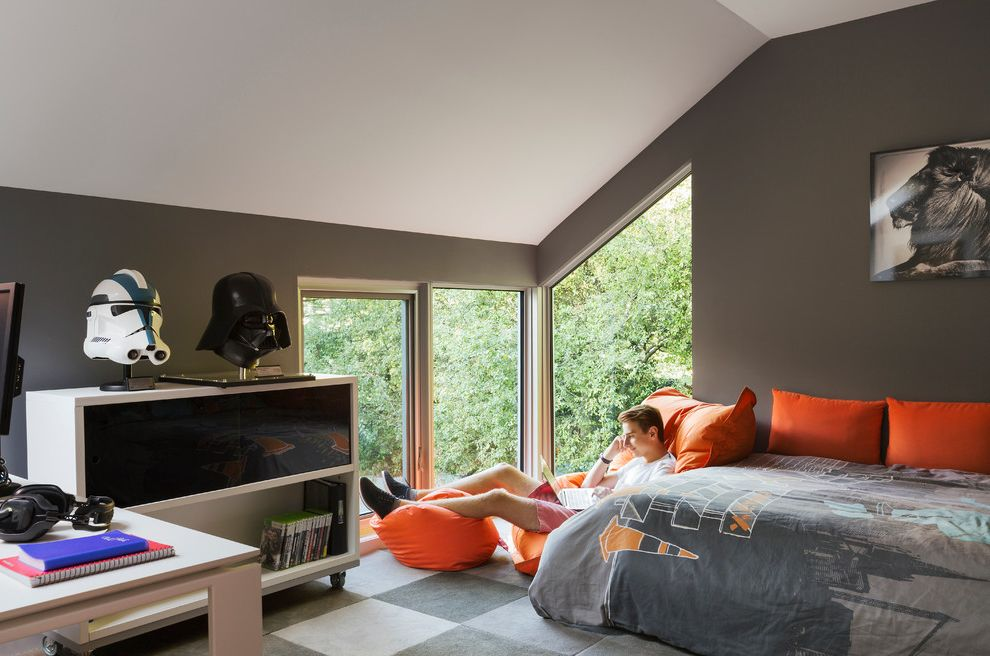 Oversized Bean Bag Chairs with Contemporary Kids  and Checkerboard Rug Gray Bedding Orange Accents Orange Beanbag Chair Star Wars