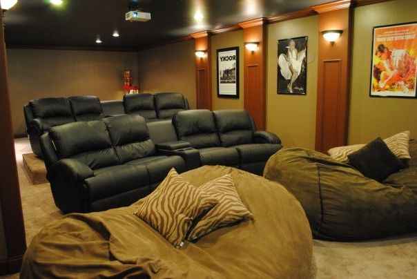 Oversized Bean Bag Chairs with Modern Home Theater  and Modern