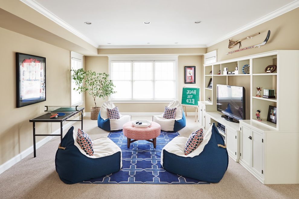 Oversized Bean Bag Chairs with Traditional Kids  and Bean Bags Blue Rug Game Room Mini Ping Pong Table Tree Tv Room