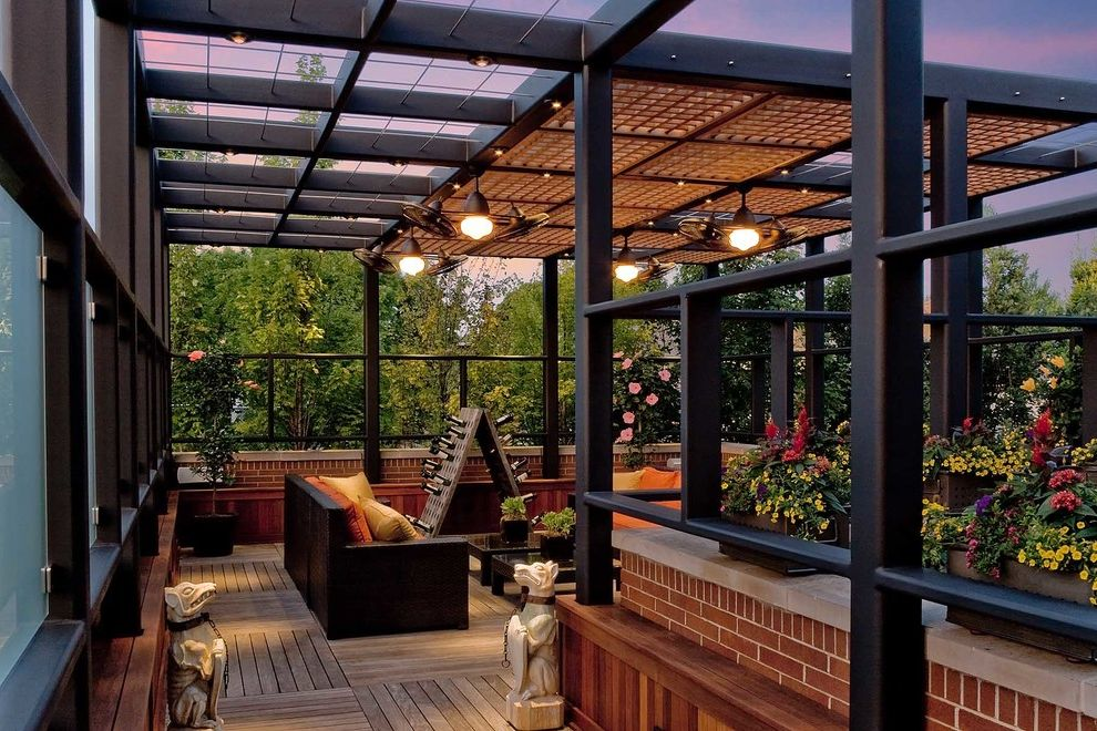 Pergola Fan   Contemporary Porch  and Black Brick Dog Sculptures Lattice Outdoor Seating Pergola Potted Plants Statues Teak Decking Wine Storage