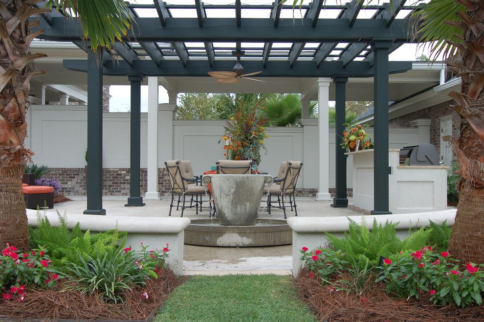 Pergola Fan   Traditional Patio  and Ceiling Fan Charleston Green Fountain Grass Grill Lawn Living Room Outdoor Outdoor Cushions Outdoor Kitchen Palm Trees Patio Furniture Pergola Tabby Terrace Walled Garden Water Feature Wood Fencing