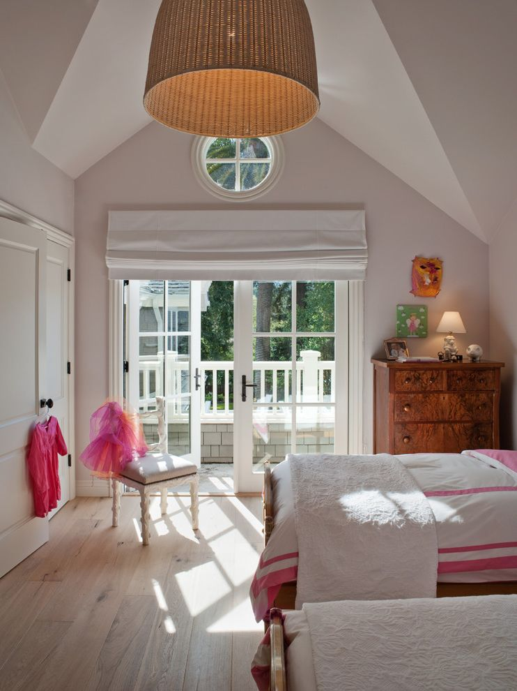 Pioneer Valley Oil   Traditional Kids  and Antique Bureau French Doors Hot Pink Pink Tutu Twin Beds White Coverlet White Roman Shade Wide Plant Floor Wood Dresser