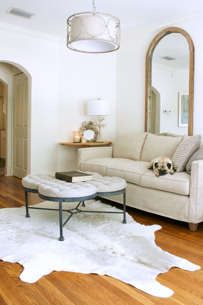 Quatrefoil Coffee Table   Transitional Living Room Also Accent Mirror Arched Doorway Arched Mirror Bulldog Cowhide Rug Dog Drum Shade Pendant Light My Houzz Pets Quatrefoil Ottoman Coffee Table Tree Branch Table Lamp