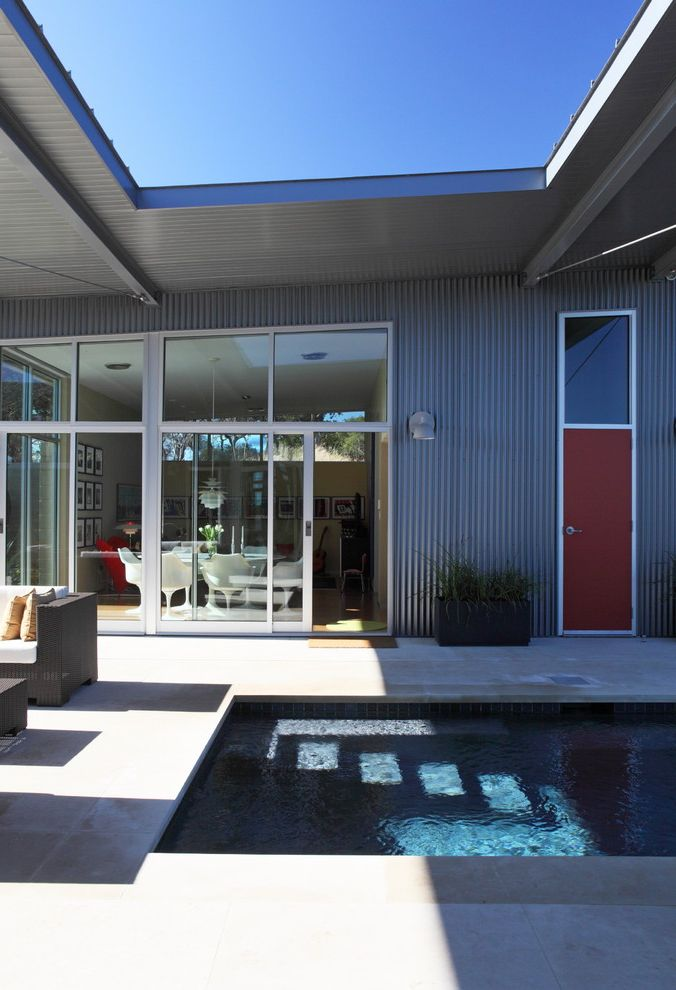 Red Door Spa Chicago   Contemporary Exterior Also Corrugated Metal Covered Patio Flat Roof Geometric Glass Door Metal Siding Minimal Modern Icons Patio Patio Furniture Pool Red Door Roof Line Sliding Doors
